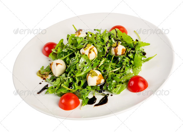 Salad from eruca and cheese - Stock Photo - Images