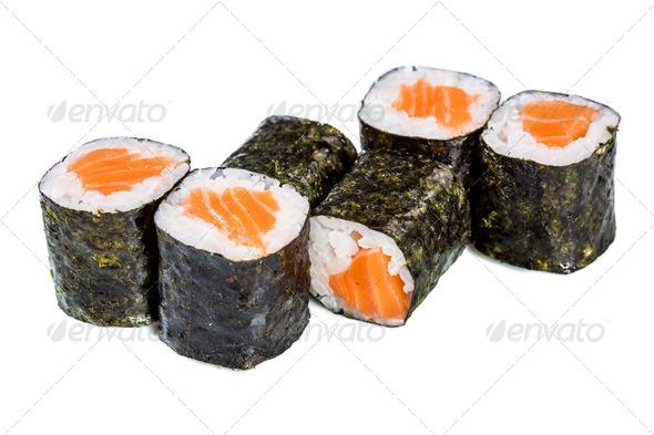 Sushi (Roll syake maki) on a white background - Stock Photo - Images