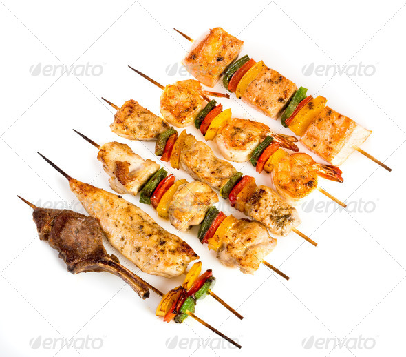 Tasty grilled meat, shish kebab - Stock Photo - Images