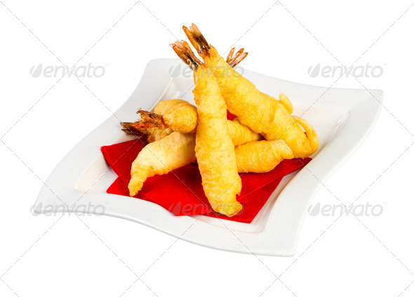 Prawns in batter - Stock Photo - Images