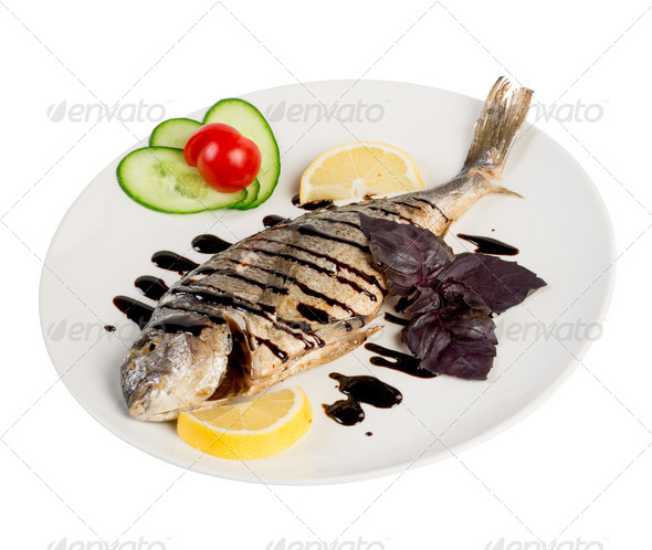 roast fish on the white - Stock Photo - Images
