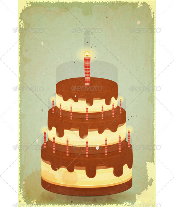 Chocolate Cake with Candles - Food Objects