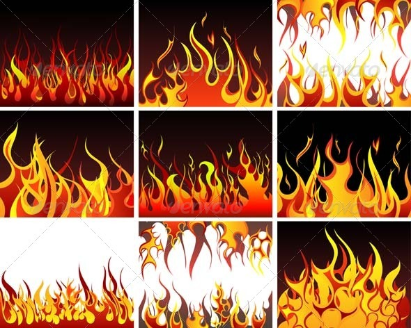 Fire Background Set - Abstract Conceptual