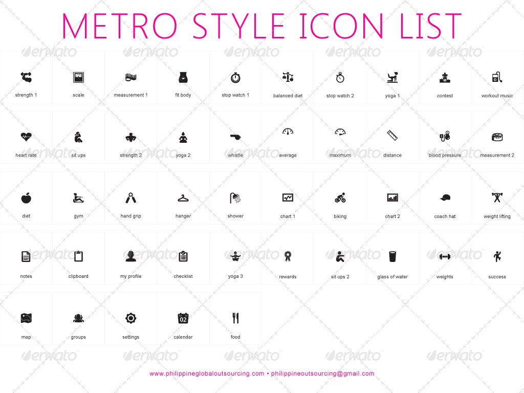 45 fitness icons metro style retina ready by
