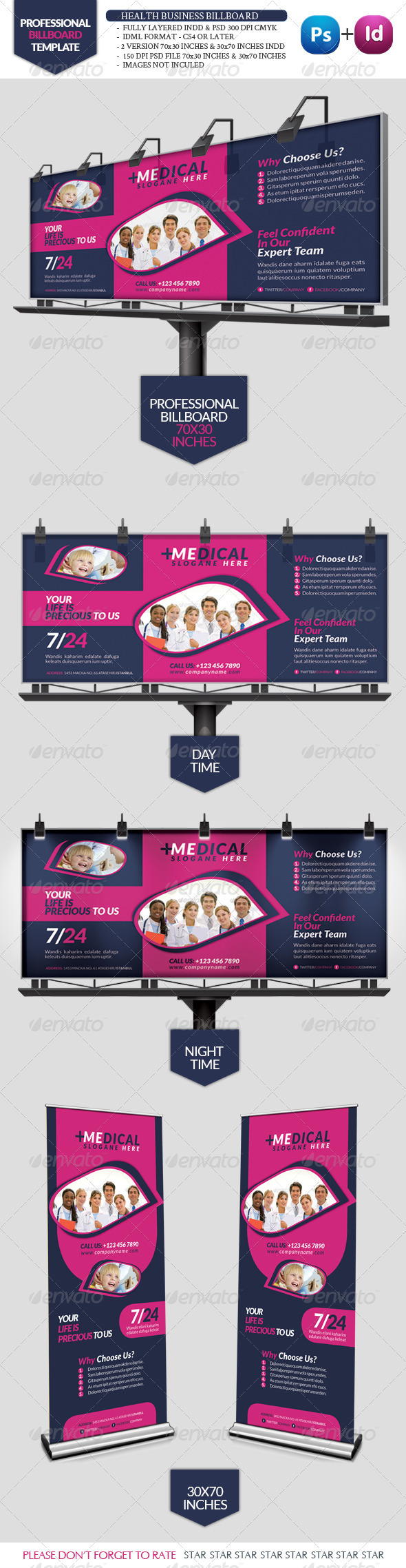 Health Business Bilboard Roll-Up - Signage Print Templates