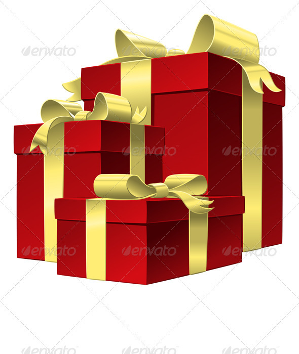 Vector Set Red Gift Box with Gold Ribbon Bow - Seasons/Holidays Conceptual