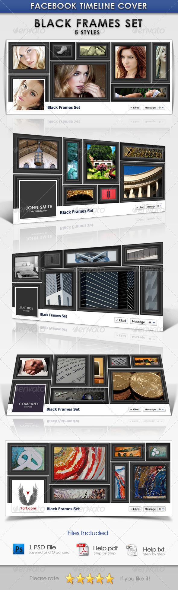 FB Cover Design Template - Black Frames - Facebook Timeline Covers Social Media