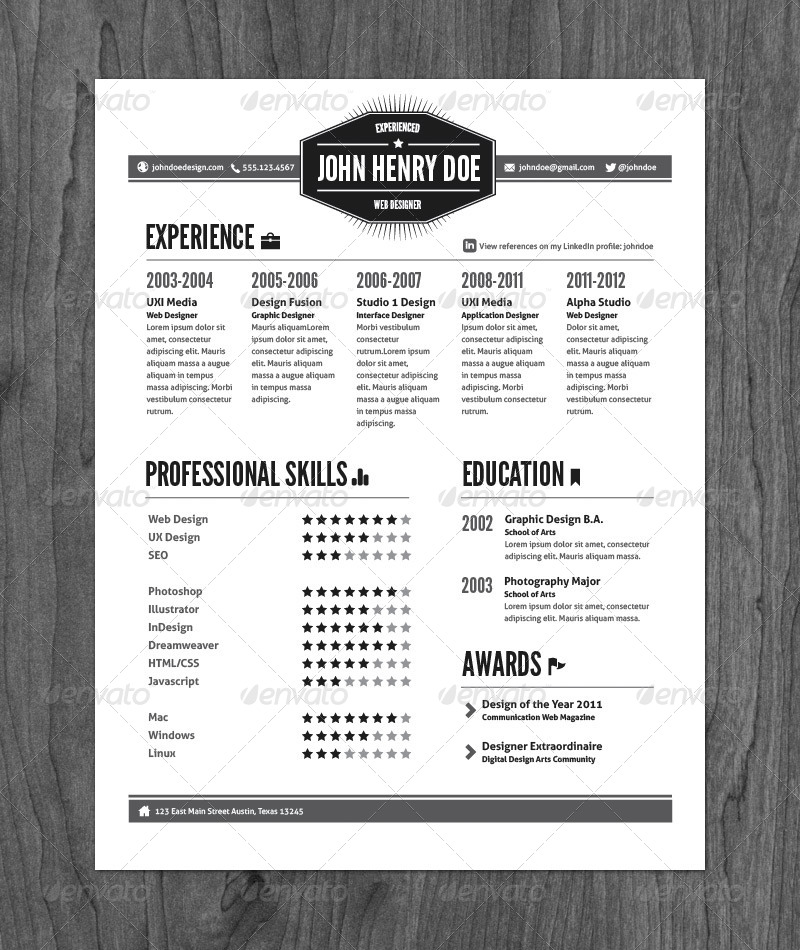 3 piece vintage style resume pack by graphicmonkee