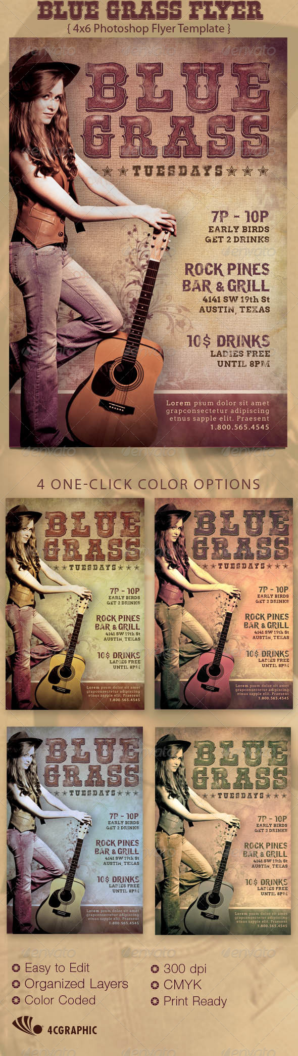 Blue Grass Country Flyer Template - Events Flyers