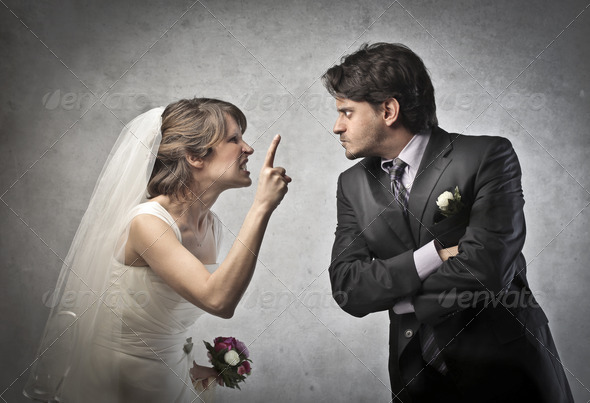 Angry Newlyweds - Stock Photo - Images