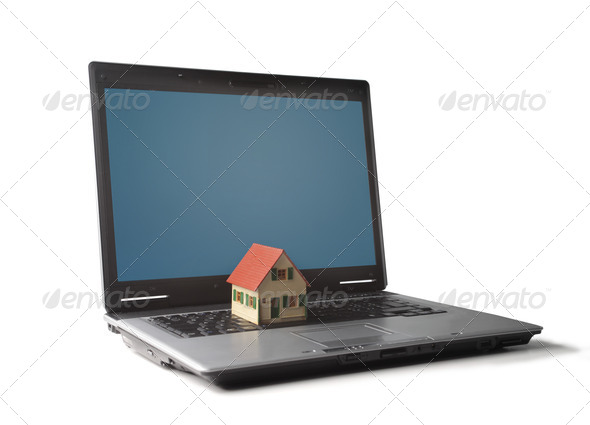 House on the PC - Stock Photo - Images