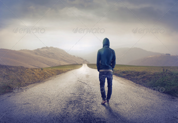 Alone on the Street - Stock Photo - Images