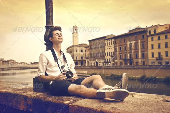 Guy in Pisa - Stock Photo - Images