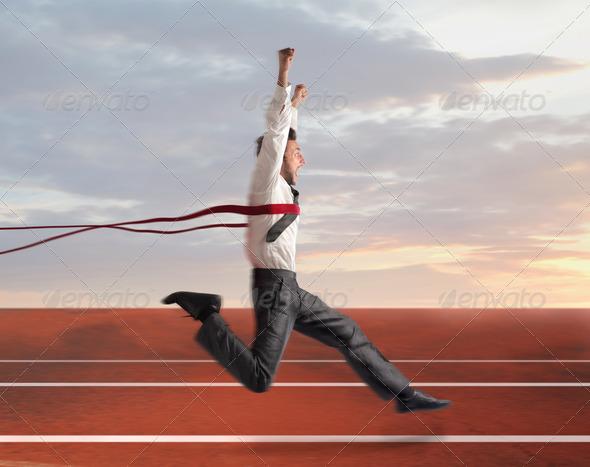 Winning Businessman - Stock Photo - Images