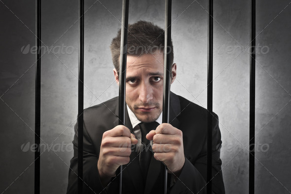 Businessman in Prison - Stock Photo - Images