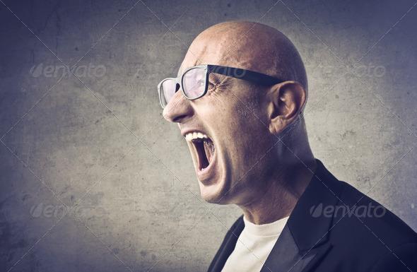 Bald Scream - Stock Photo - Images