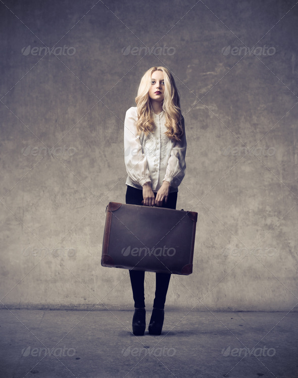 Blonde Girl Leaving - Stock Photo - Images