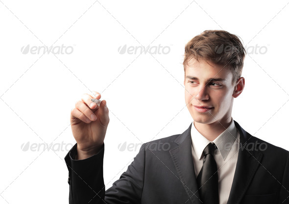 Writing Young Businessman - Stock Photo - Images