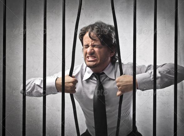 Imprisoned Businessman  - Stock Photo - Images