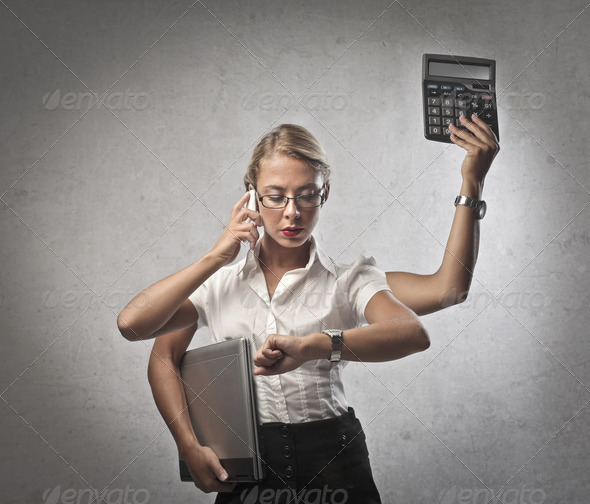Multitasking Woman - Stock Photo - Images