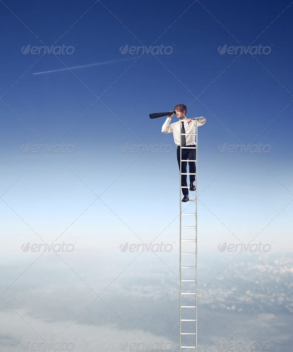 Overlooking Office Worker - Stock Photo - Images