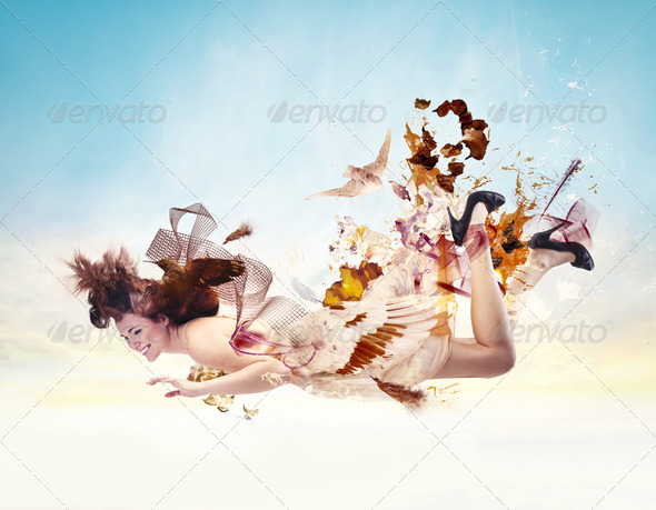 Flying Woman - Stock Photo - Images