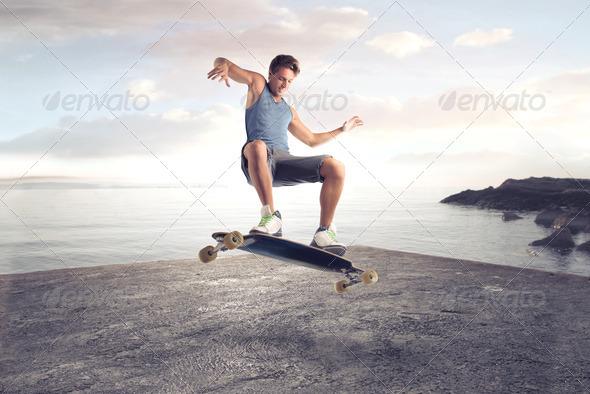 Skater Boy Trick - Stock Photo - Images