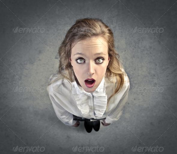 Astonished Blonde - Stock Photo - Images