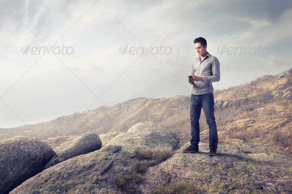Cellular on a Cliff - Stock Photo - Images