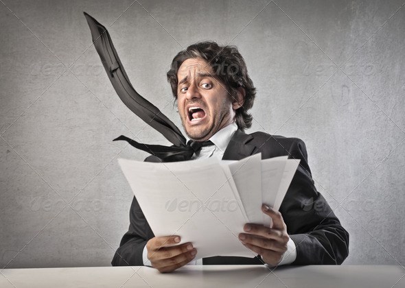 Scared Businessman - Stock Photo - Images