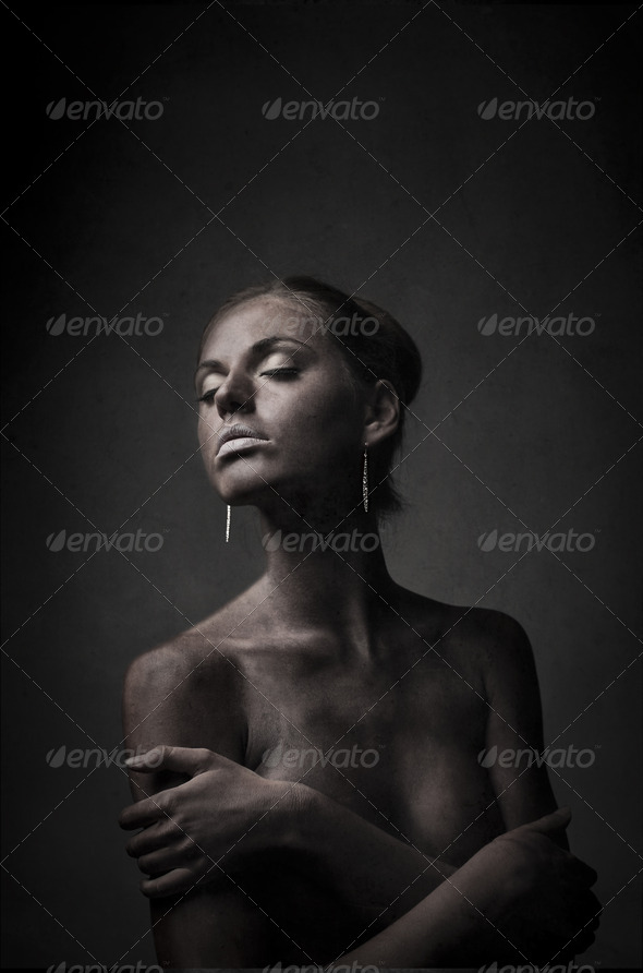 Black Painted Girl - Stock Photo - Images