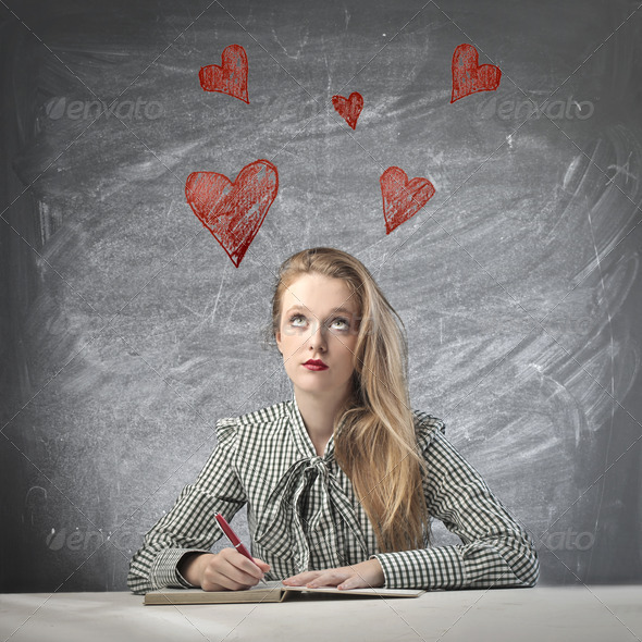 Blonde Girl in Love - Stock Photo - Images