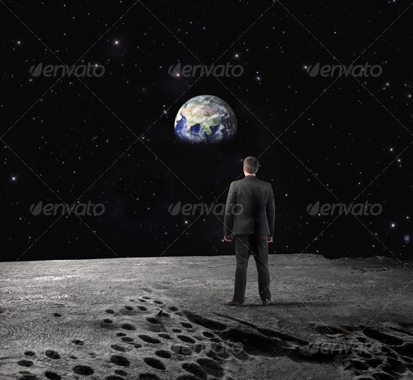 Man on the Moon - Stock Photo - Images