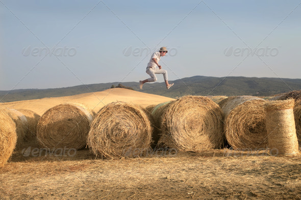 Jumping Country Boy - Stock Photo - Images