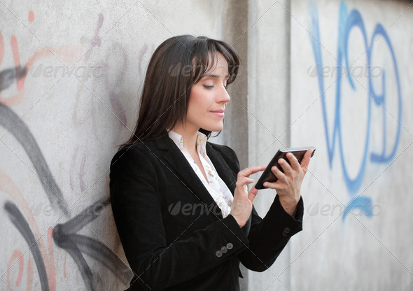 Businesswoman Tablet PC - Stock Photo - Images
