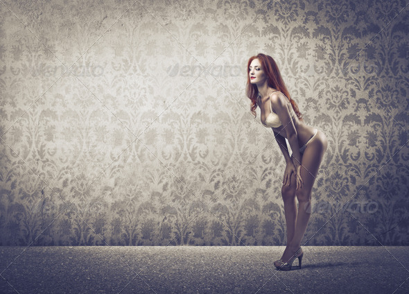Red Woman in Lingerie - Stock Photo - Images