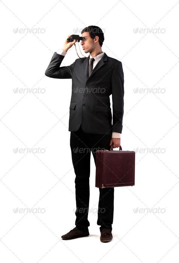 Businessman Binoculars - Stock Photo - Images