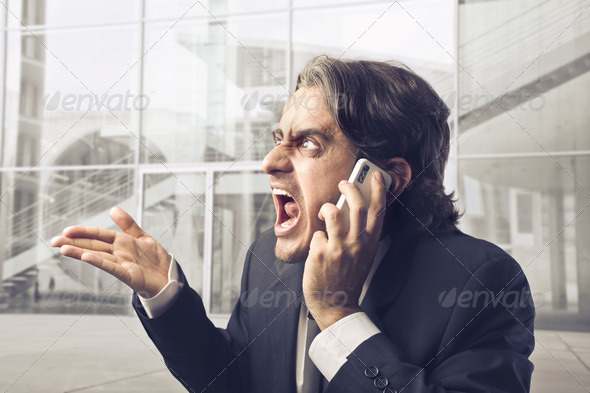 Very Angry Businessman - Stock Photo - Images