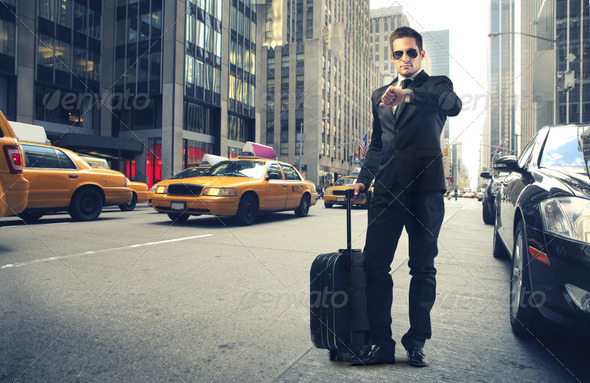 Businessman in New York - Stock Photo - Images