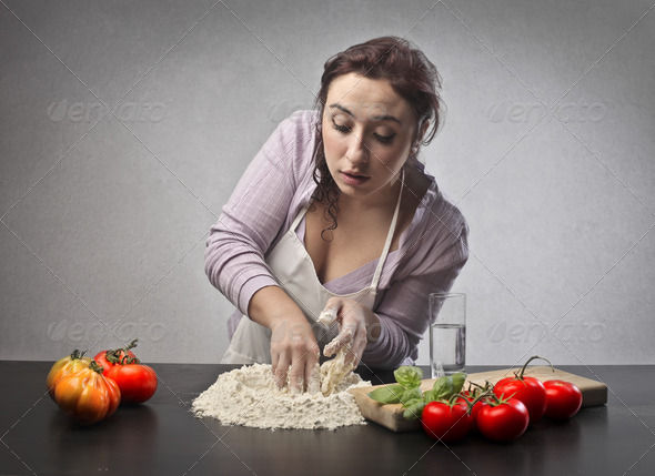 Young Woman Pizza - Stock Photo - Images