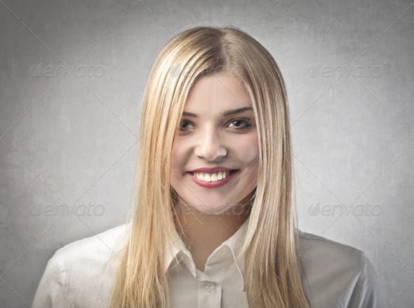 Blonde Smiling - Stock Photo - Images