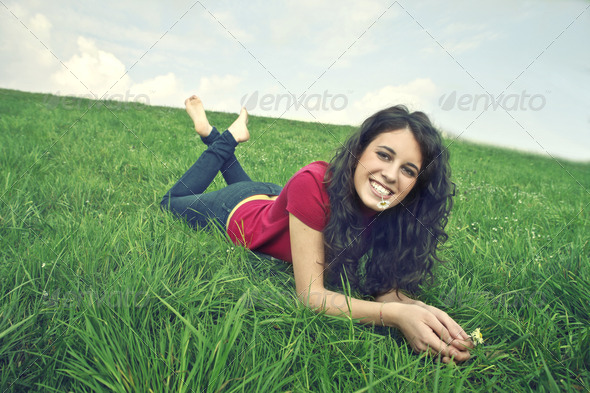 Smiling Brown Girl - Stock Photo - Images