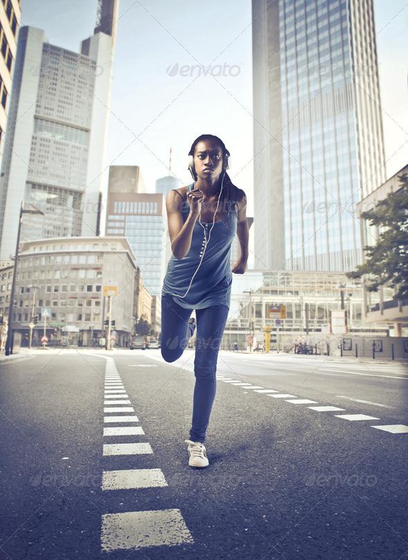 Black Girl City Run - Stock Photo - Images