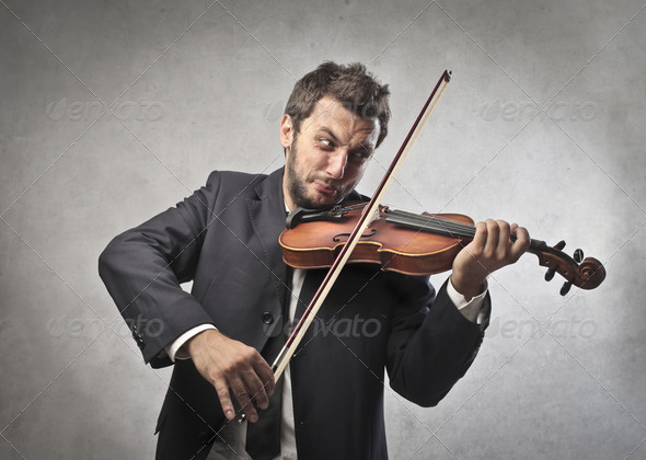 Excited Violinist - Stock Photo - Images