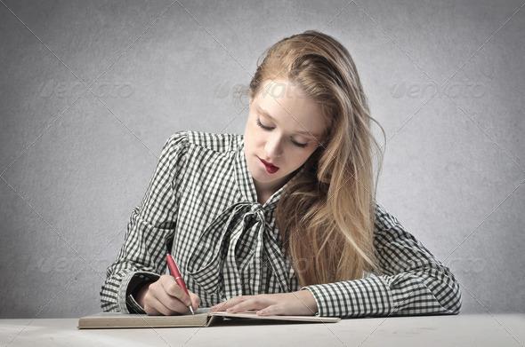 Writing Blonde Girl - Stock Photo - Images