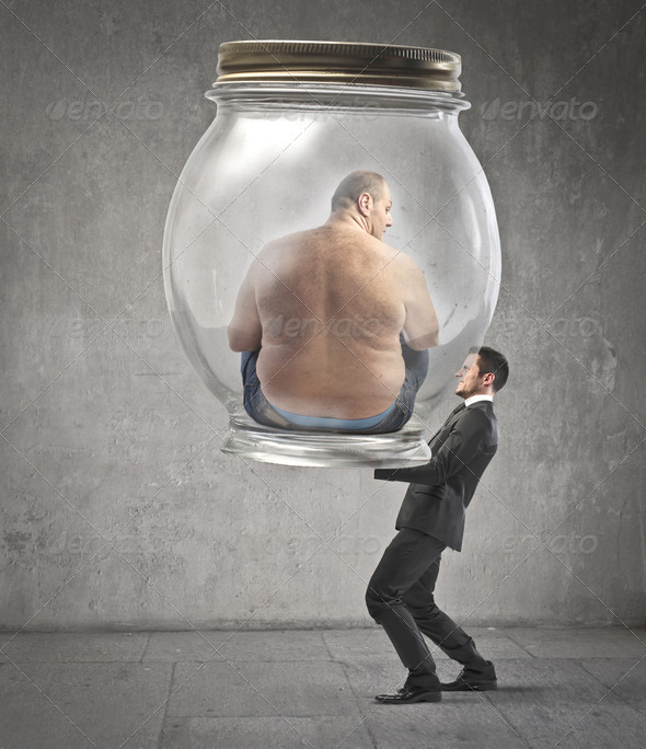 The Weigh of a Fat Man - Stock Photo - Images