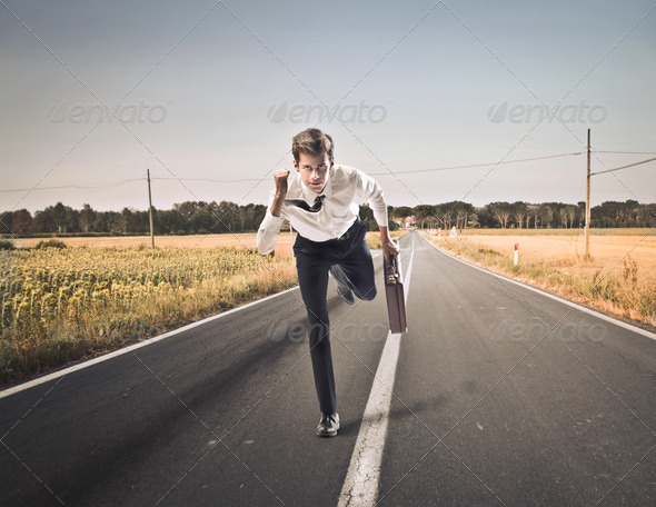 Running Young Businessman - Stock Photo - Images