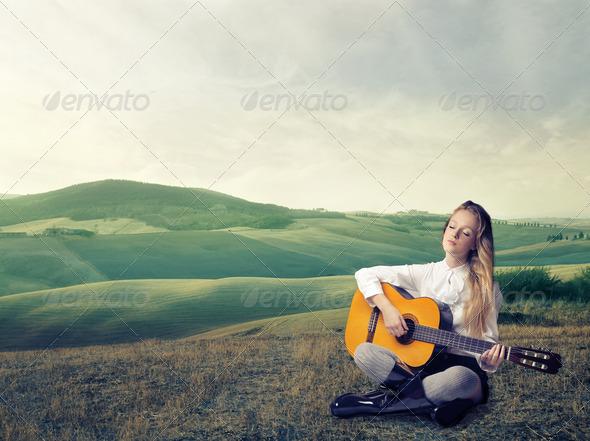 Blonde Guitarist - Stock Photo - Images