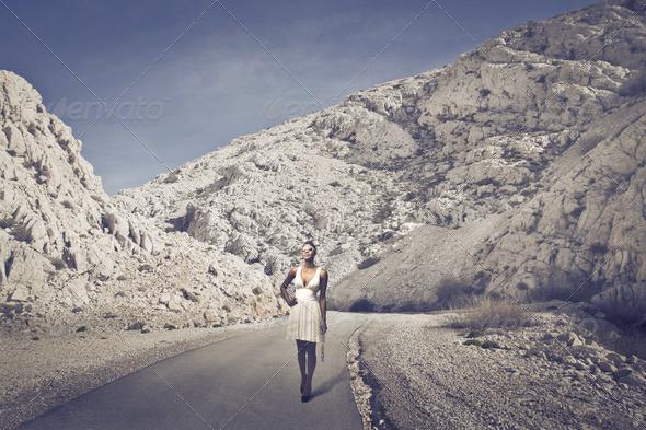 Black Girl in White - Stock Photo - Images