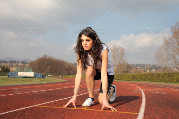 At the Starting Block - Stock Photo - Images